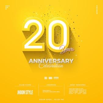 Convite do 20º aniversário com números amarelos em relevo