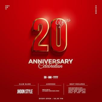 Convite do 20º aniversário com números bordados em ouro