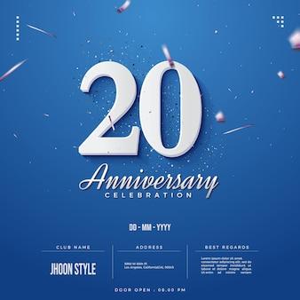 Convite do 20º aniversário com números brancos