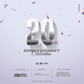 Convite do 20º aniversário com números de prata brilhantes