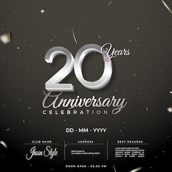 Convite do 20º aniversário com números de prata