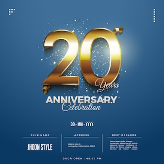 Convite do 20º aniversário com números dourados brilhantes