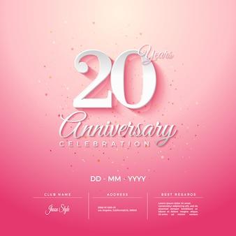 Convite do 20º aniversário com números e vinheta rosa