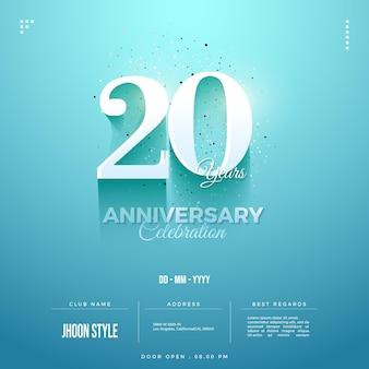 Convite do 20º aniversário com números em tons suaves