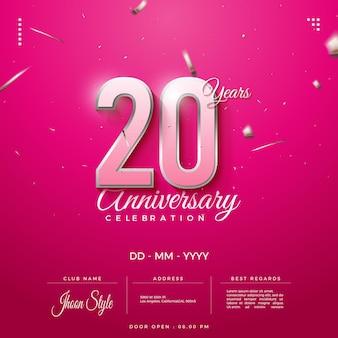 Convite do 20º aniversário com números listrados de ouro
