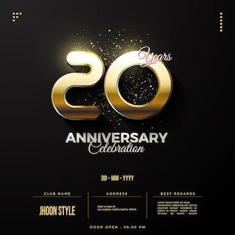 Convite do 20º aniversário com números pretos