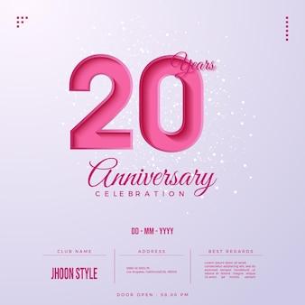 Convite do 20º aniversário com números rosa
