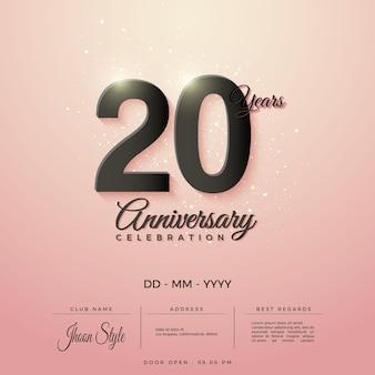 Convite do 20º aniversário com preto brilhante