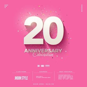 Convite do 20º aniversário com sombra em relevo