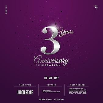 Convite do 3º aniversário com números de prata