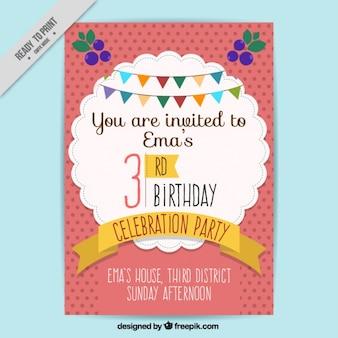 Convite do aniversário com fundo dos pontos