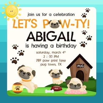 Convite do aniversário do pug
