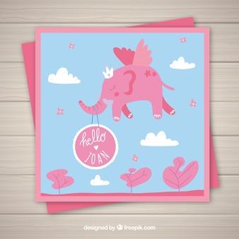 Convite do cartão da menina com cor cor-de-rosa