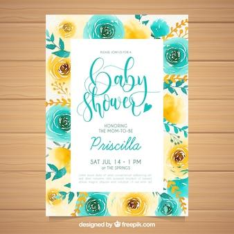 Convite do cartão do chá de fraldas com flores da aguarela