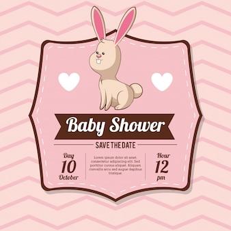 Convite do cartão do chuveiro do bebê com decoração do coração do coelho