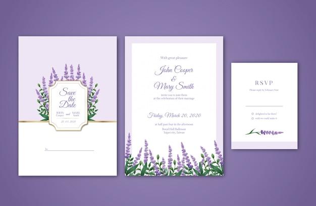 Convite do casamento da aguarela da alfazema