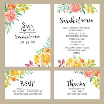 Convite do casamento da aguarela do verão