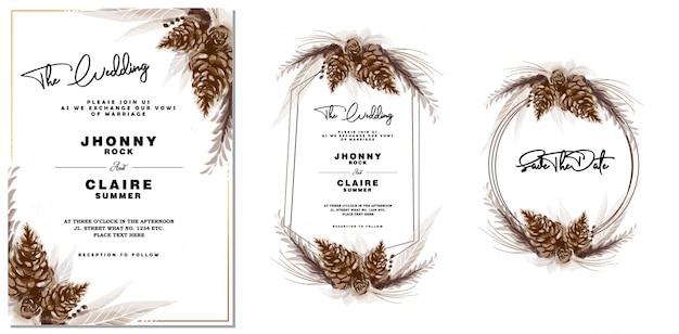 Convite do casamento do cone do pinho do vintage da aguarela & quadro