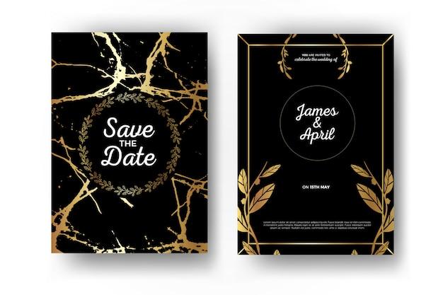 Convite do casamento do ouro
