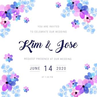 Convite do casamento do quadro da aguarela