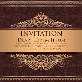 Convite do casamento e cartão do anúncio com arte finala do fundo do vintage. fundo ornamentado de damasco elegante. ornamento abstrato floral elegante. modelo de design.