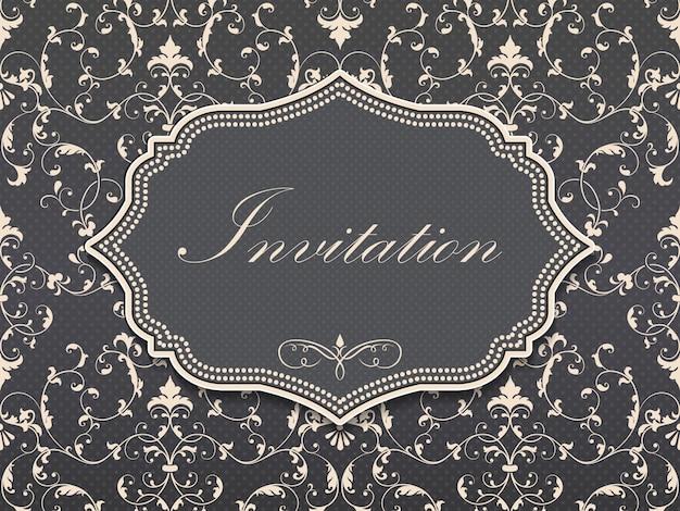 Convite do casamento e cartão do anúncio com arte finala do fundo do vintage