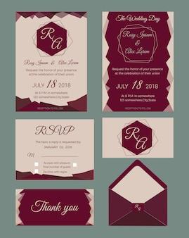 Convite do casamento, salvar a data, cartão rsvp, cartão de agradecimento, etiquetas de presentes, colocar cartões, cartão de resposta.