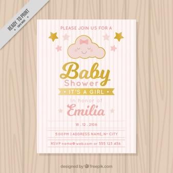 Convite do chá de bebê com fundo listrado