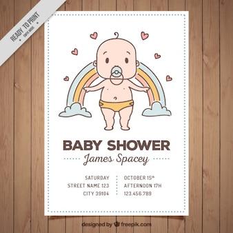 Convite do chá de bebê com miúdo bonito e arco-íris