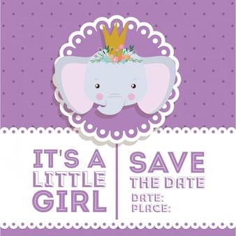 Convite do chuveiro de bebê com desenho de elefante