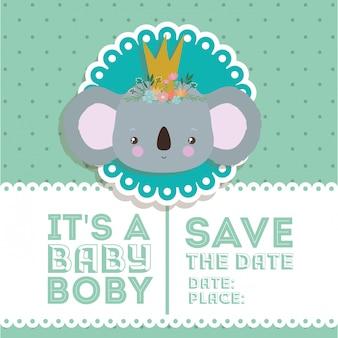 Convite do chuveiro de bebê com desenhos animados de coala