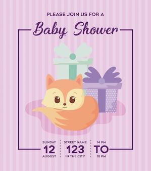 Convite do chuveiro de bebê com desenhos animados de raposa