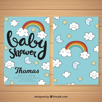 Convite do chuveiro de bebê com elementos bonitos
