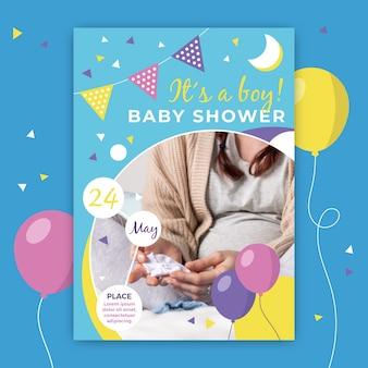 Convite do chuveiro de bebê com foto da mãe