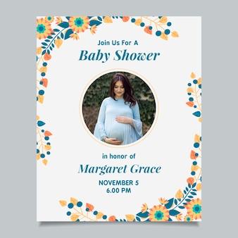 Convite do chuveiro de bebê com foto (menino)