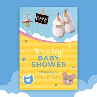 Convite do chuveiro de bebê com foto