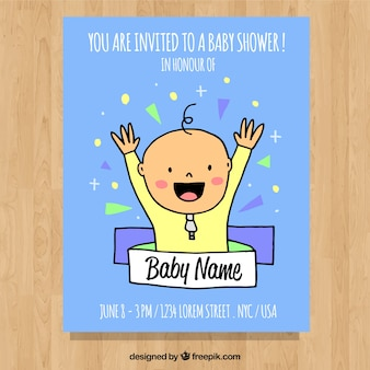 Convite do chuveiro de bebê com menino bonito