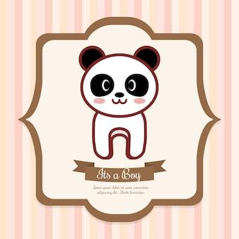 Convite do chuveiro de bebê com o ícone de panda