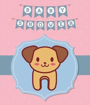 Convite do chuveiro de bebê com o ícone do cão