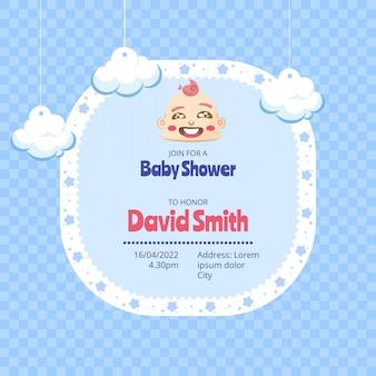 Convite do chuveiro de bebê com padrão em estilo simples