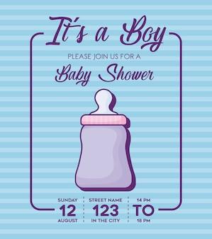 Convite do chuveiro de bebê com seu um conceito de menino com ícone de garrafa de bebê fofo sobre fundo azul, cor