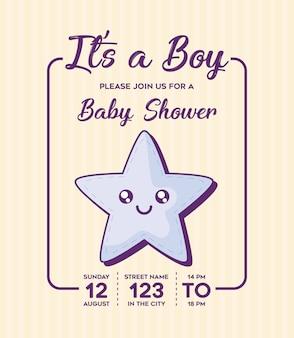 Convite do chuveiro de bebê com seu um conceito de menino com o ícone de estrela bonito sobre fundo amarelo, d colorido