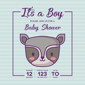 Convite do chuveiro de bebê com seu um conceito de menino com o ícone de guaxinim bonito sobre fundo azul, colorido