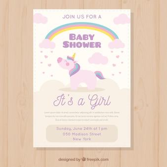 Convite do chuveiro de bebê com unicórnio fofo