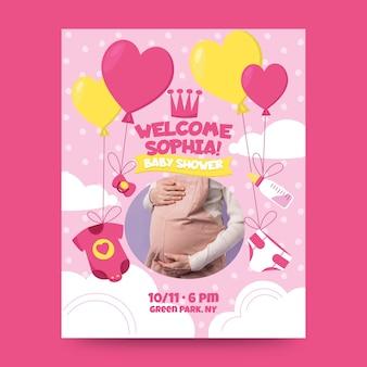 Convite do chuveiro de bebê menina com foto