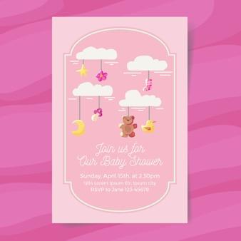 Convite do chuveiro de bebê menina