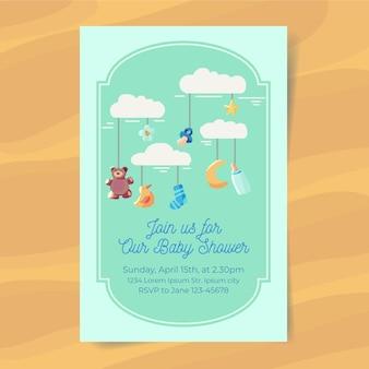 Convite do chuveiro de bebê menino