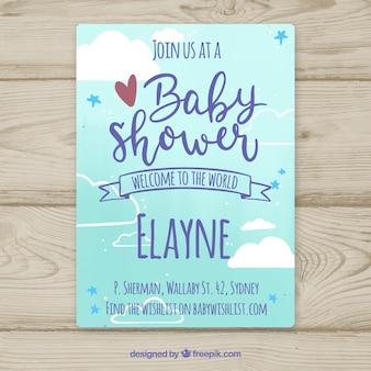 Convite do chuveiro de bebê na mão desenhada estilo