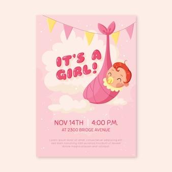 Convite do chuveiro de bebê para menina