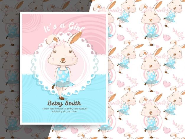 Convite do chuveiro de bebê vintage com padrão de coelho